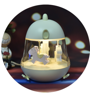 Desk Lamparas Cute Merry-go-round  music light